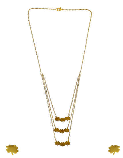 Floral Design Gold Finish Layered Korean Pendant Set