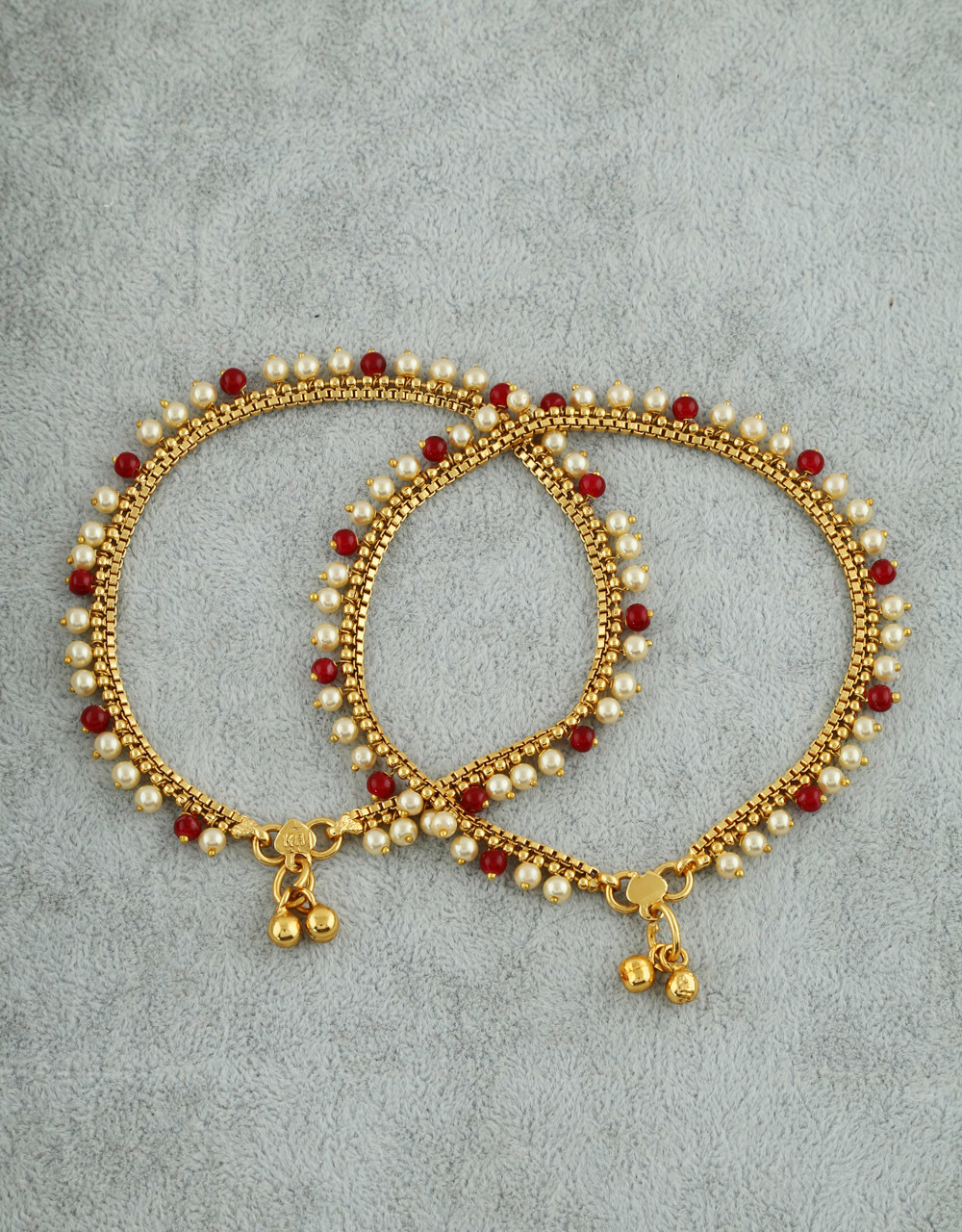 9e1d1cd510288 Red Colour Gold Finish Styled With Pearls Beads Fancy Payal Jewellery