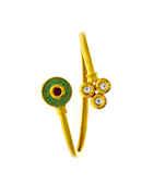 Green Colour Gold Finish Kundan Kada