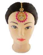 Pink Colour Gold Finish Traditional Maang Tika For Girls