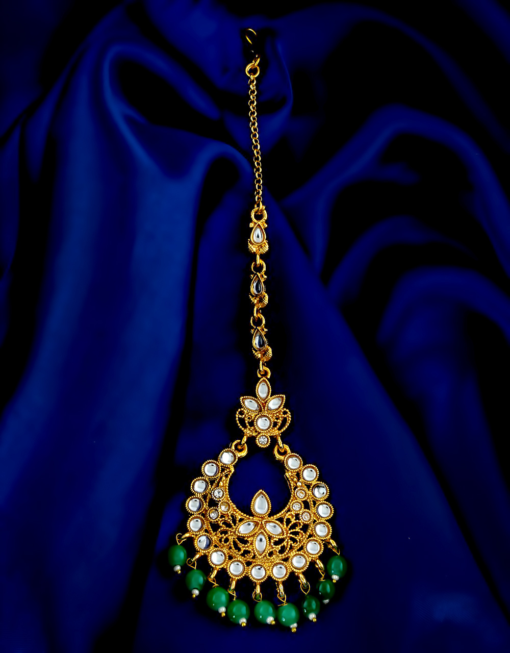 Green Colour Gold Finish Wedding Mang Tikka Jewellery Fancy