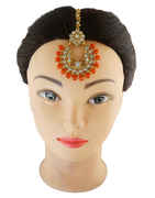Orange Colour Gold Finish Styled With Beads Maang Tika