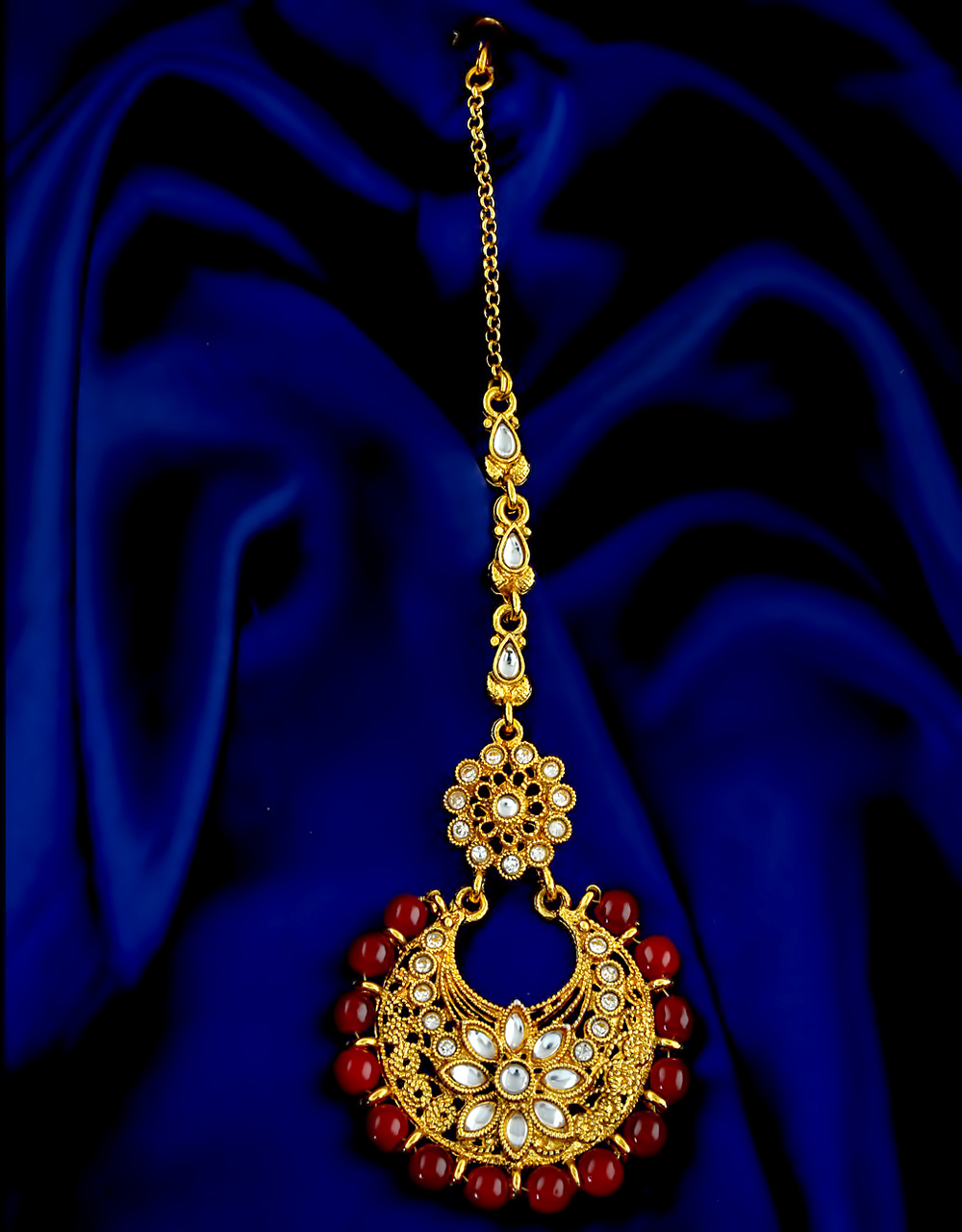 Maroon Colour Gold Finish Studded With Stones Fancy Mang Tikka