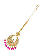 Very Classy Gold Finish Pink Colour Fancy Mang Tikka Jewellery