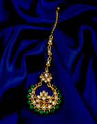 Green Colour Gold Finish Studded With Stones Fancy Mang Tikka