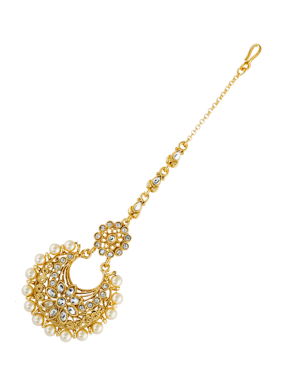 Fancy Gold Finish Styled With Pearls Beads Mang Tikka Jewellery