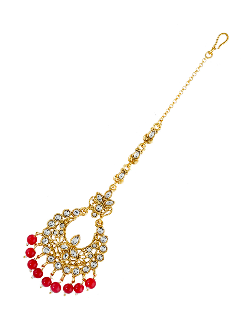 Red Colour Gold Finish Studded With Stones Fancy Maang Tikka