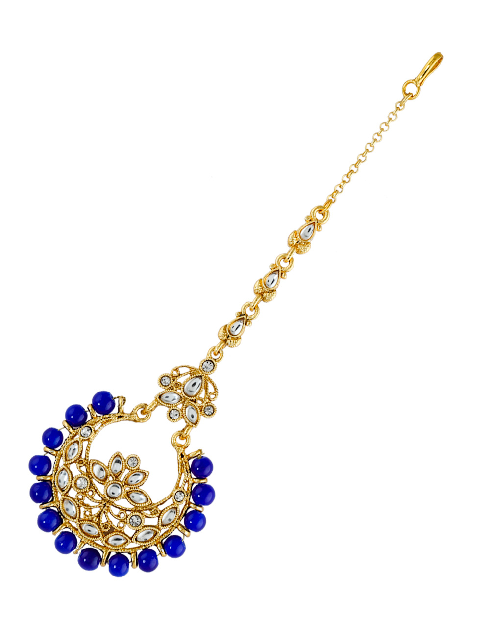 Gold Finish Blue Colour Styled With Beads Fancy Mang Tikka Jewellery