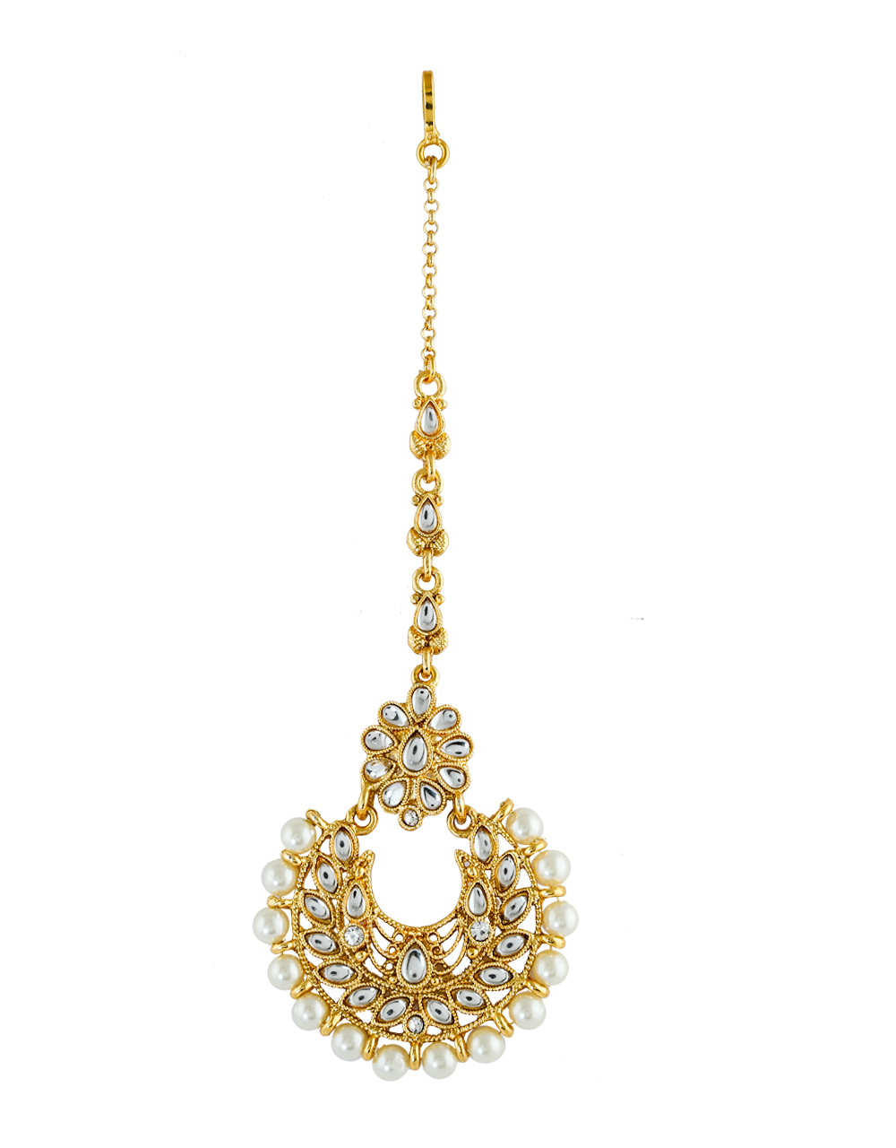 Fancy Pearls Styled Traditional Maang Tikka Jewellery For Girls