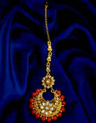 Orange Colour Floral Design Gold Finish Fancy Mang Tikka