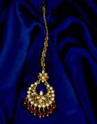 Maroon Colour Trendy Gold Finish Maang Tikka Jewellery
