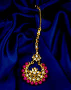 Pink Colour Gold Finish Fancy Traditional Maang Tikka Fancy