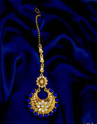 Blue Colour Gold Finish Floral Design Styled With Beads Mang Tika