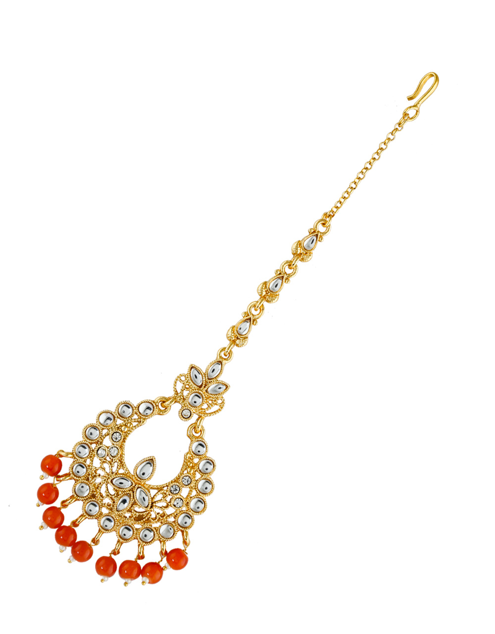 Orange Colour Gold Finish Fancy Traditional Maang Tika
