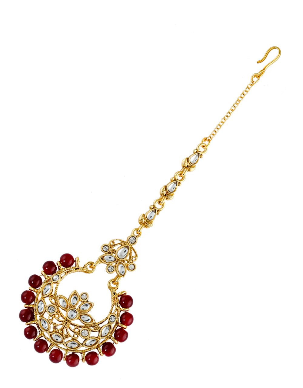Maroon Colour Gold Finish Floral Design Fancy Maang Tikka