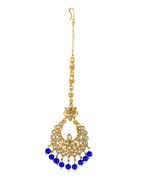 Blue Colour Gold Finish Beads Maang Tikka Jewellery