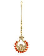 Orange Colour Gold Finish Styled With Orange Colour Beads Maang Tika
