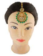 Green Colour Gold Finish Fancy Weddings Jewellery Hair Mang Tika