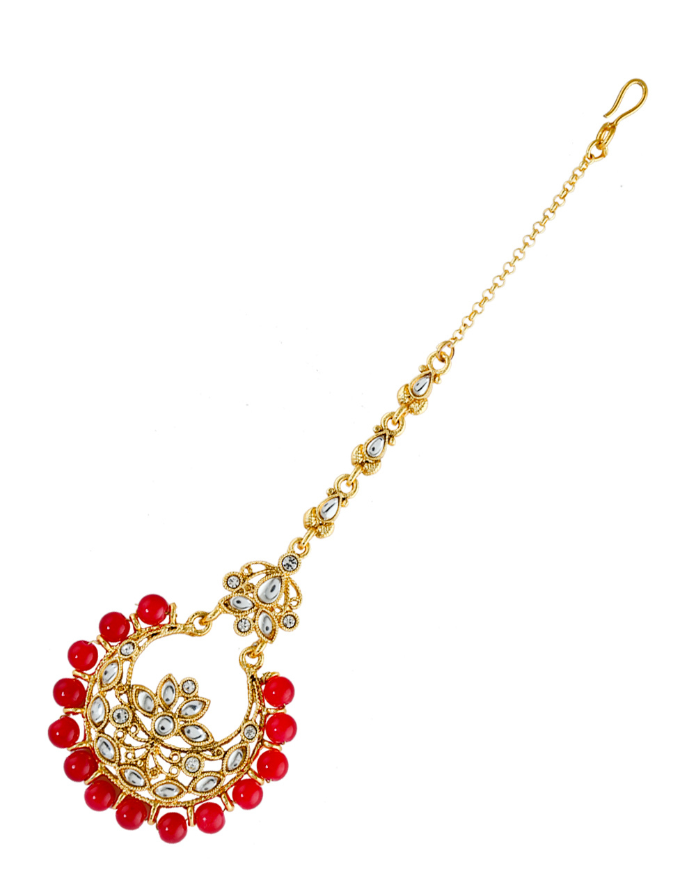 Red Colour Gold Finish Styled With Beads Fancy Maang Tikka