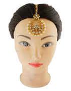 Beautiful Gold Finish Pearls Styled Maang Tika