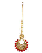 Red Colour Gold Finish Fancy Wedding Maang Tikka Jewellery