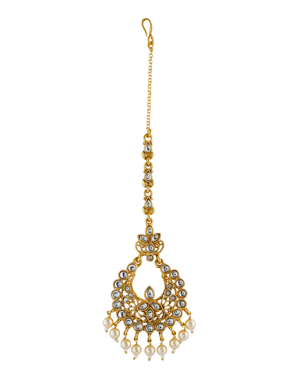 Antique Gold Finish Styled With Pearls Beads Maang Tikka