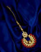 Red Colour Floral Design Gold Finish Fancy Mang Tikka