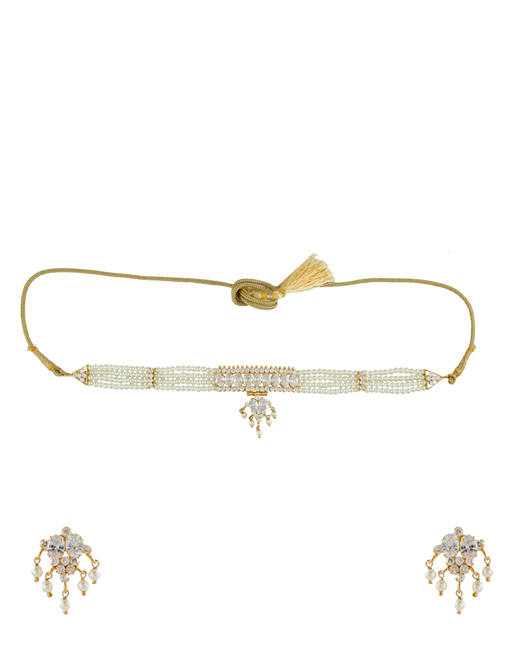 Designer Gold Finish Studded With Stones Pearls Necklace