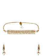 Fashionable Gold Finish Pink Colour Moti Necklace Jewellery