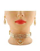 Gold Finish Studded With Stones Marathi Necklace Jewellery