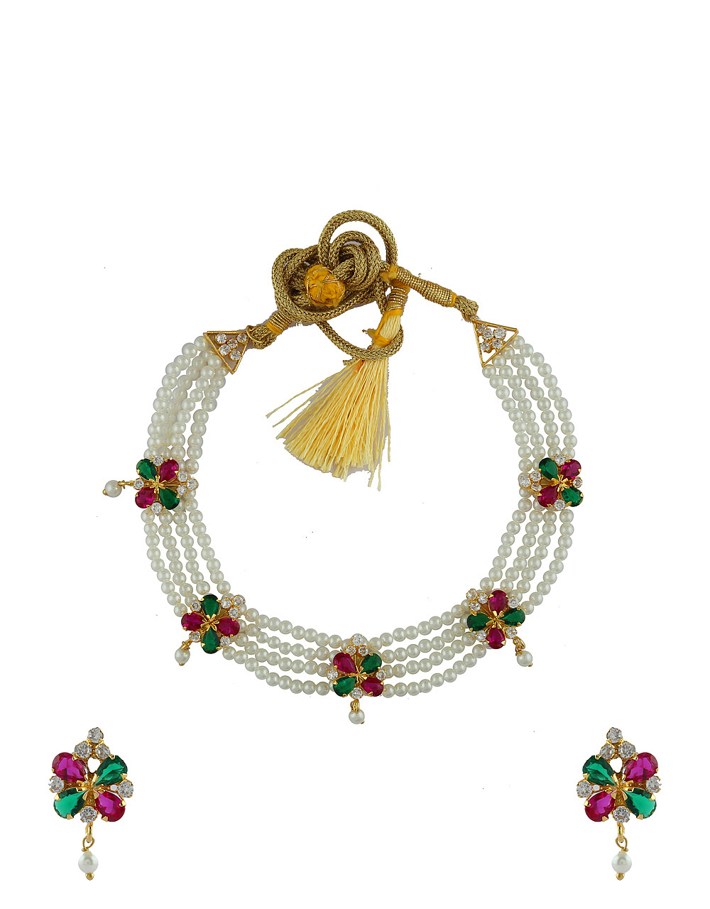 Multi Colour Designer Gold Finish Pearls Necklace For Weddings