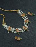 Multi Colour Gold Finish Moti Necklace Jewellery For Women
