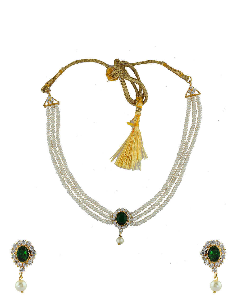 Green Colour Pearls Styled Stunning Moti Necklace