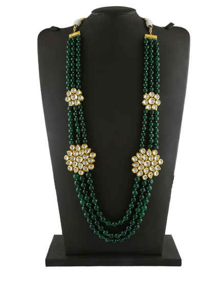 Fancy Green Colour Gold Finish Kundan Necklace Jewellery