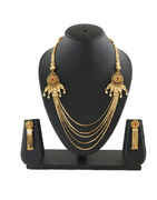 Gold Finish Red Colour Gold Finish Layered Long Necklace