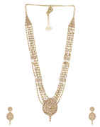 Antique Gold Finish Fancy Studded With Stones Long Necklace