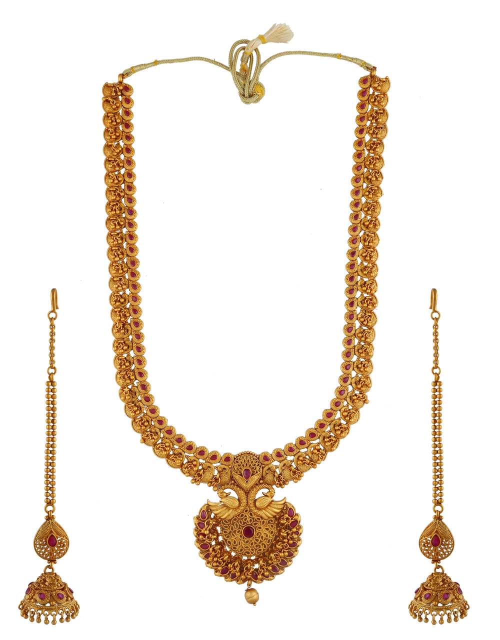 Pink Colour South Matte Finish South Indian Long Necklace