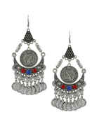 Silver Oxidised Finish Red-Blue Colour Fancy Earrings