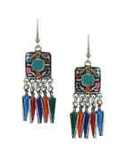Multi Colour Oxidised Silver Finish Designer Earrings For Girls