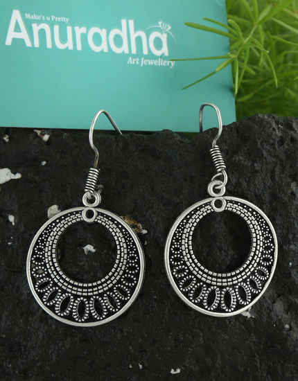 Oxidized Finish Fancy Hanging Earrings For Girls Trendy