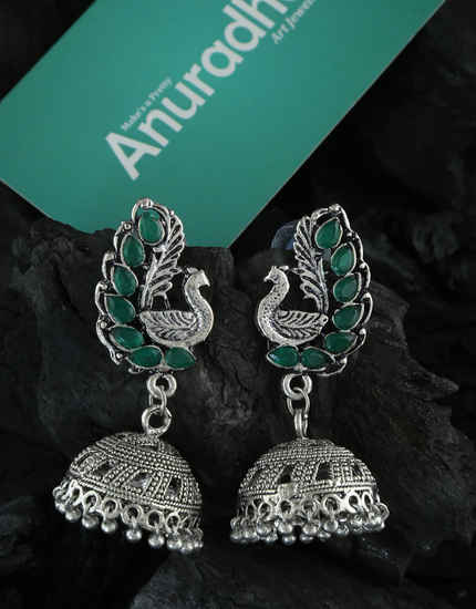 Peacock Design Oxidized Finish Fancy Zumki Earrings For Girls