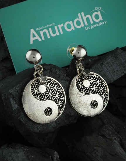 Silver Finish Designer Earrings For Navaratri Festival