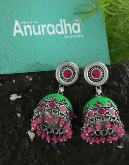 Pink-Green Colour Oxidized Finish Fancy Zumkies For Girls