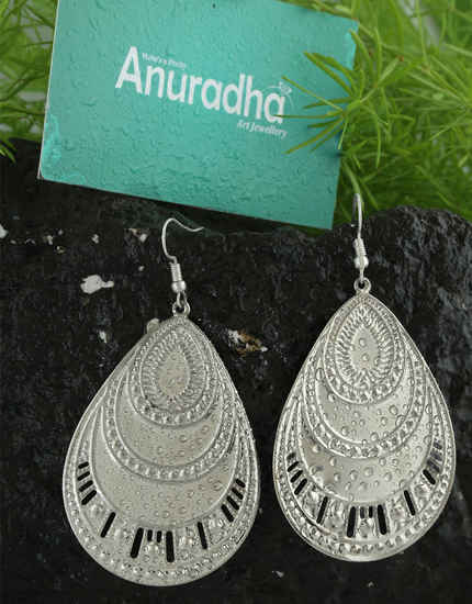 Matte Silver Finish Hanging Earrings For Girls