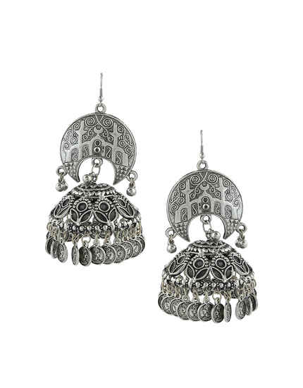 Oxidized Silver Finish Designer Zumkaa Earrings For Girls