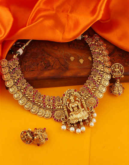 Pink Colour Gold Finish Temple Design South Indian Jewellery
