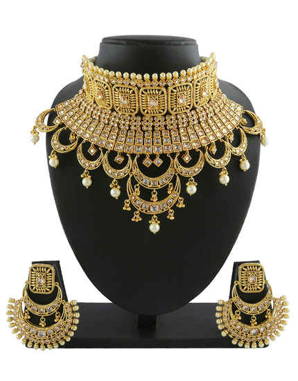 Gold Finish Necklace Studded With Stones Designer Padmavati Necklace Jewellery