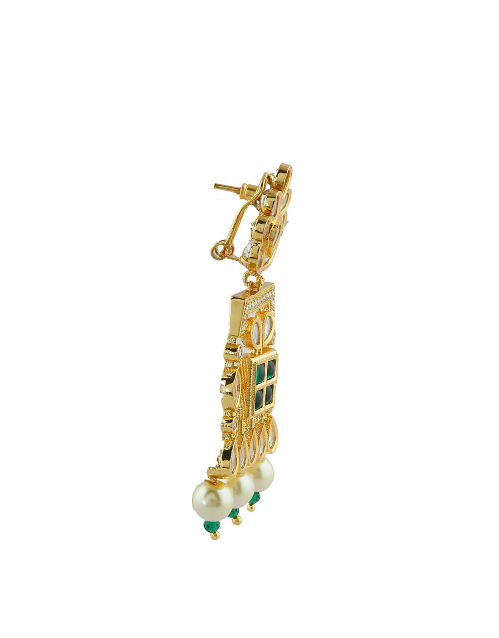Green Colour Gold Finish Kundan Rajasthani Necklace Jewellery