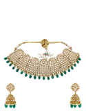 Antique Gold Finish Green Colour Stunning Necklace For Bride