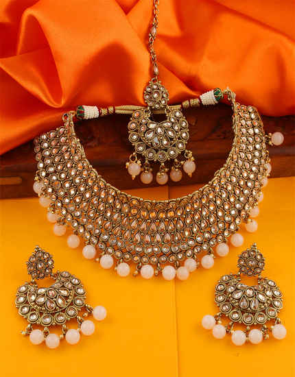 Antique Gold Finish Styled With Beads Necklace Jewellery For Girls Trendy